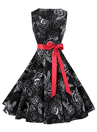Anni Coco Women's 1950s Hepburn Vintage Swing Dresses With Ribbon Belt Floral 10 Small (Tea Length Ribbon)
