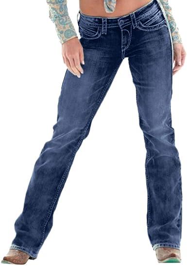 STRIR Mujer Rectos Vaqueros Anchos Push Up Boyfriend Jeans Retro ...