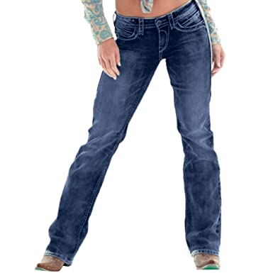 STRIR Mujer Rectos Vaqueros Anchos Push Up Boyfriend Jeans ...