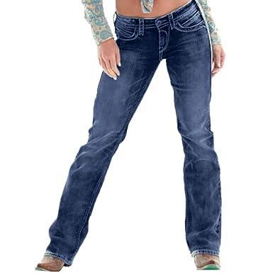 9a0efdba85b Jeans Femme Pantalon en Denim Taille Haute brodé