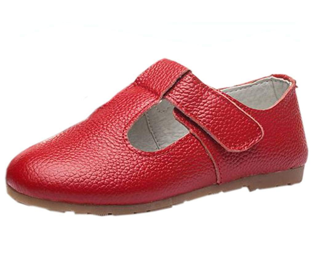 DADAWEN Child's Gril's Leather T-Shaped Strap Oxford Shoes Red US Size 10.5 M Little Kid