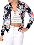 #1: MISSLOOK Women's Floral Print Classic Quilted Baseball Jacket Fall Short Biker Bomber Jacket Coat