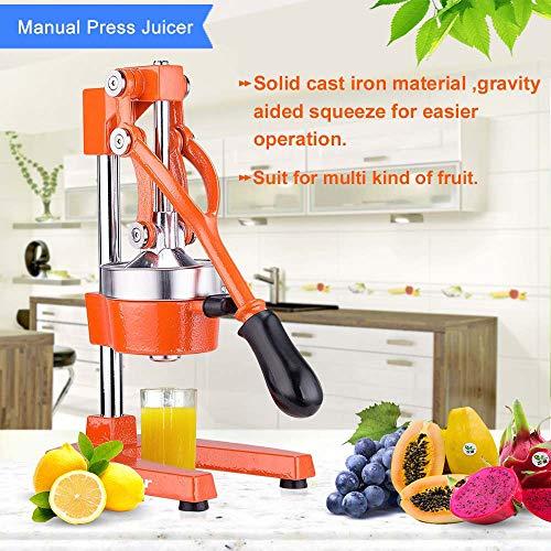 (Commercial Citrus Press Fruit Squeezer Press Juicer Manual for Orange Lemon Pomegranate Juicing -Extracts Maximum Juice - Heavy Duty Cast Iron Base and Handle - Non Skid Suction Foot Base)