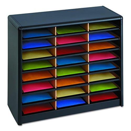 Safco Products 7111BL Value Sorter Literature Organizer, 24 Compartment, Black