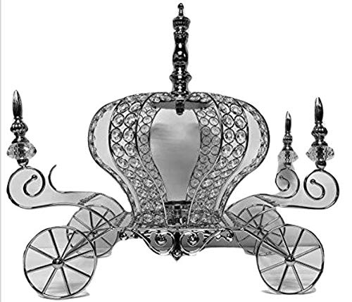 Silver Crown Metal Carriage Coach All Occasion Party-Wedding, Sweet 16, Mis Quince Anos Decoration Princess Party Fairytale Centerpiece 17'' H