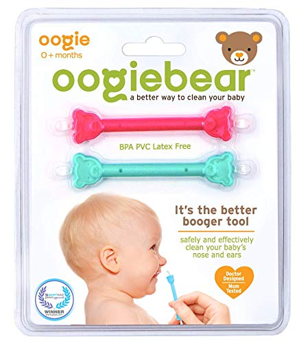 (oogiebear - The Safe Baby Nasal Booger and Ear Cleaner; Baby Shower Gift and Registry Essential Snot Removal Tool - 2 Count - Raspberry and Seafoam)