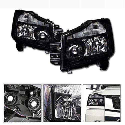 Black Crystal Jdm - VXMOTOR 2004-2015 Nissan Titan 2004/2005-2007 Armada Pickup Truck Black JDM Sport Crystal Head Lights Headlight Corner Turn Signal Blinkers Light Lamp NB