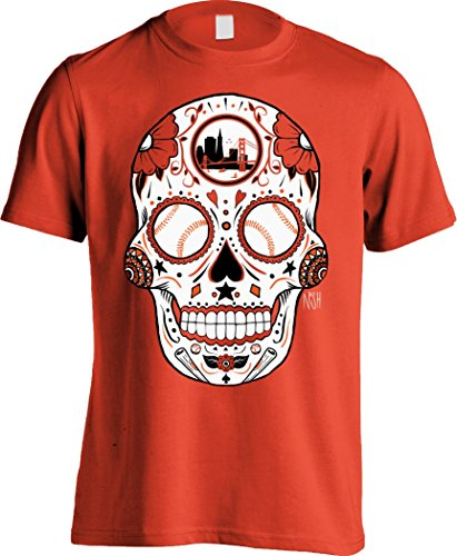 America's Finest Apparel San Francisco Baseball Sugar Skull - Men's (Small, Orange) America Sugar