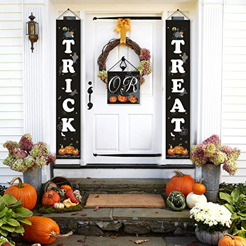 Trick or Treat Halloween Banner - QIFU Halloween Decorations for Home Indoor/Outdoor, Ready to Hang (Best Halloween Indoor Decorations)