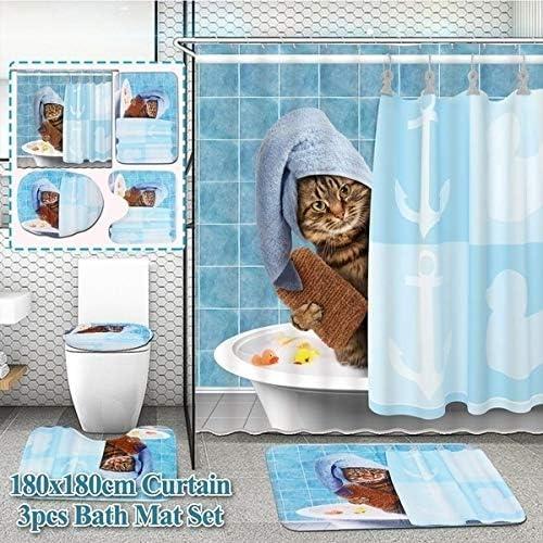 Cute Little Owl Blue Shower Curtain Bath Mat Toilet Cover Rug Bathroom Decor Set