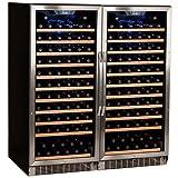 Edgestar CWR1211SZDUAL 242 Bottle Built-In Side-by-Side Wine Cellar Stainless Steel - Black