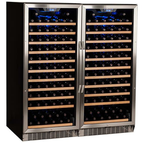 Edgestar CWR1211SZDUAL 242 Bottle Built-In Side-by-Side Wine Cellar Stainless Steel - Black