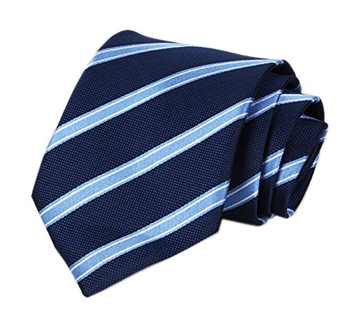 (Men's Navy Blue Striped Sky Blue Silk Ties Jacquard Daily Dress Meeting Neckties)