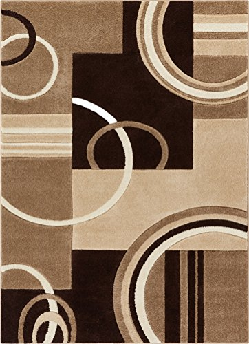 Galaxy Waves Ivory & Brown Geometric Circles Ruby 5'3'' X 7'3'' Well Woven Plush Area Rug (60012) ()