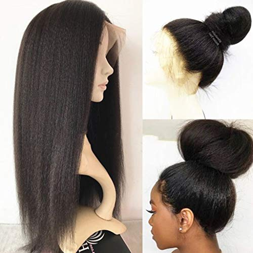 360 Lace Frontal Wig For Black Women Pre Plucked Human Hair Wigs with Baby Hair Kinky Straight 150% Density Yaki 360 Lace Wigs Human Hair 16inch