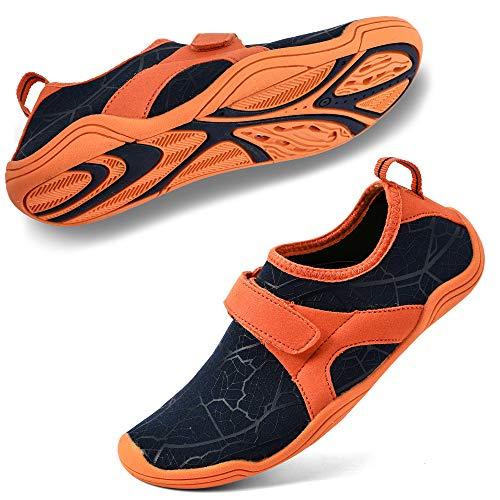 hiitave Boys & Girls Water Shoes Lightweight Comfort Sole Easy Walking Athletic Slip on Aqua Sock(Toddler/Little Kid/Big Kid) Navy/Orange 4.5-5 Big Kid