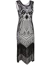 Long Prom 1920s Vintage Gatsby Bead Sequin Art Nouveau Deco Flapper Dress