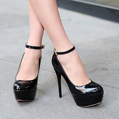 Femme Escarpins Noir Vernis Sexy Soirée Cheville Bride Mariage Talon Haut Basique OALEEN Aiguille Plateforme Chaussures wEaZdqWw