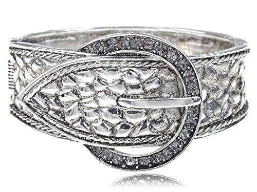 Alilang Womens Silvery Tone Grey Rhinestones Reptile Skin Belt Buckle Bangle Bracelet - Reptile Buckle Belt