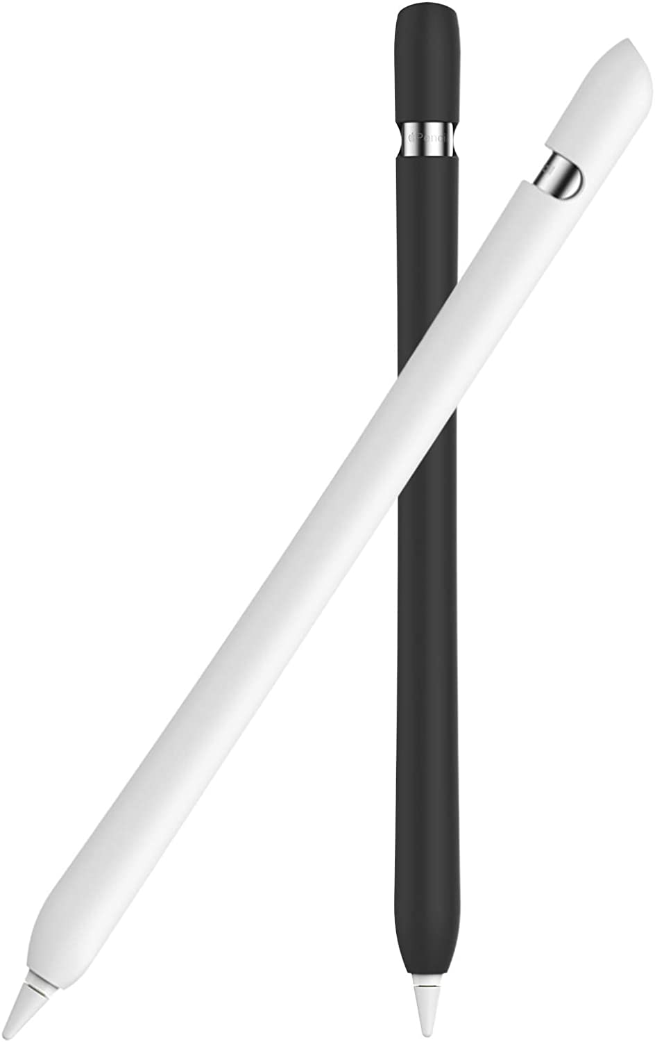 Delidigi 2 Pack Case for Apple Pencil 1st Gen, Soft Silicone Sleeve Cover Accessories Compatible with Apple Pencil 1st Generation(2 Pack, Black+White)