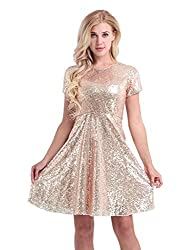 Women's Short Sleeve Sequins Cocktail A-line Dress