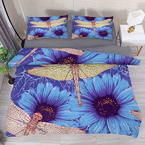 LvShen Dragonfly Chrysanthemum Duvet Cover Set King Size 3 Pieces Printed Sheets Bed Coverlet Bedding Sets with 2 Pillow Cases Shams for Home Women Men