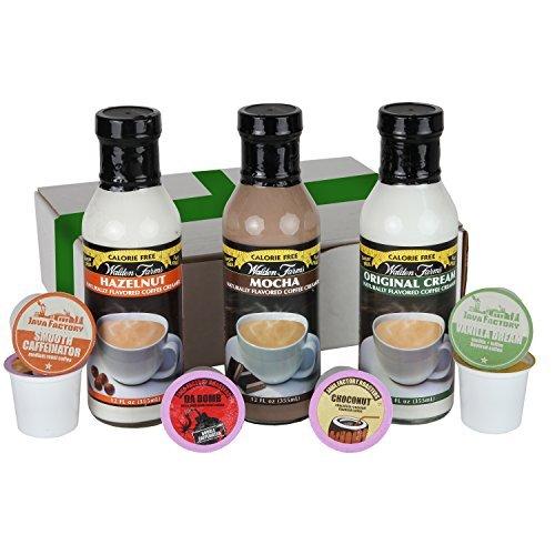 Walden Farms Coffee Creamer - Sugar, Fat, Calorie & Carb Free - Hazelnut, Mocha, Original Cream - 12 Oz Each - With 6 Great Tasting K-cups by Walden Farms