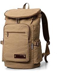 XINCADA Vintage Canvas Backpack Large School Bag Hiking Travel Backpack Rucksack Laptop Backpack