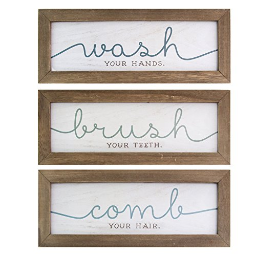 Stratton Home Décor S11580 Wash Brush/Comb Bath Art (Set of 3), 36.00 W X 0.50 D X 4.75 H, Natural Wood, White & Blue (Signs Bathroom Wooden)