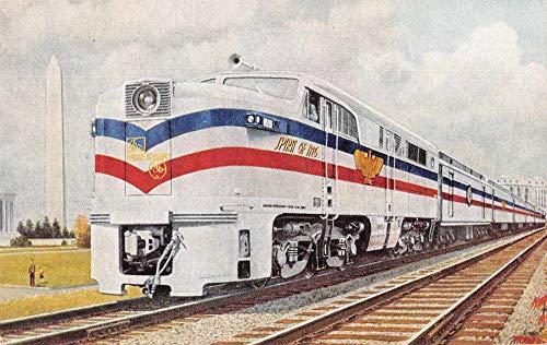 Engine Freedom (Washinton Monument Freedom Train Engine Antique Postcard J79465)