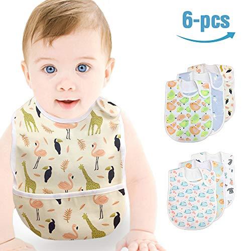Baby Waterproof Bib, Mifiatin Girl Toddler Drooling Feeding Bibs 6 Pcs(0-3year)