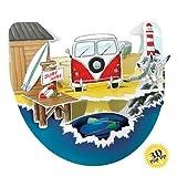 Santoro Interactive 3-D Popnrock Greeting Card, Camper Van Beach (SPR001)