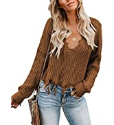 Asvivid Womens V Neck Long Sleeve Ripped Distressed Pullover Knit Crop Sweater S-2XL