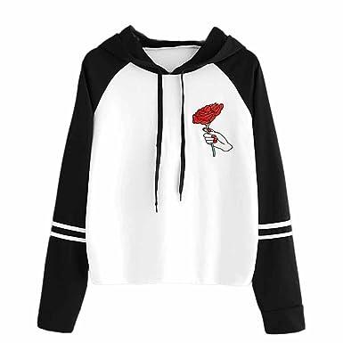 Sudaderas con capucha mujer, Xinantime Las mujeres de moda rosa Tops Negro y blanco sudadera con capucha Sudadera con capucha: Amazon.es: Ropa y accesorios