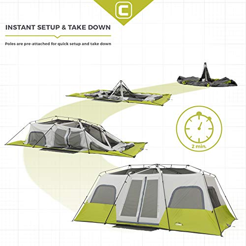 CORE 12 Person Instant Cabin Tent – 18′ x 10′ …- Light