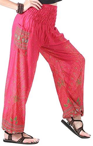 CandyHusky Elastic Waist Peacock Feather Baggy Hippie Boho Yoga Harem Pants (Hot Pink)