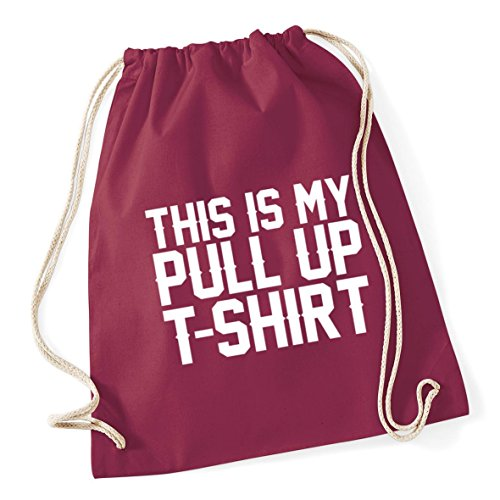 Kid shirt School HippoWarehouse x pull Burgundy Sack Drawstring 37cm This up t 46cm litres my 12 Gym is Cotton Bag rzPwY1xqz