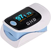 GHB Pulsímetro Oxímetro de Pulso y Monitor de Ritmo Cardíaco con Pantalla LED azul