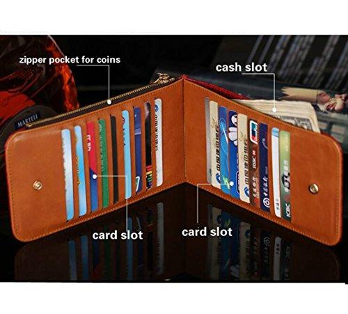 Edmen RFID Blocking Damen Leder Multi Karte organizer Geldbörse mit Reißverschluss Tasche (Schwarz) Rot FVxQexMVH