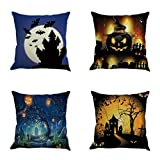 Gotd Vintage Halloween Pillow Covers Decorations Throw Pillow Case Cushion Happy Halloween Decor Clearance Indoor Outdoor Festive Party Supplies (Multicolor A)