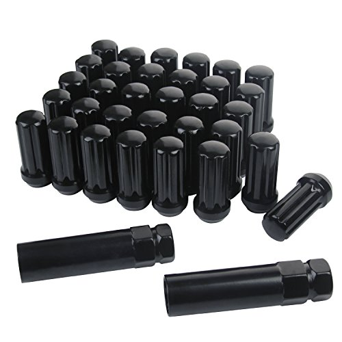 ZY Wheel 51mm Long 14mm x 1.5 Thread Size Set of 32pcs Small Diameter Spline Drive Black Lug Nuts Closed End with 2 Keys by ZY Wheel