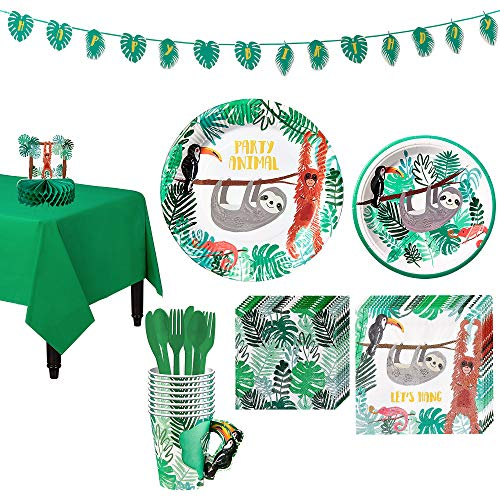 Party City Sloth Tableware Kit for 8 Guests, Includes Plates, Napkins, Table Cover, and Decorations -