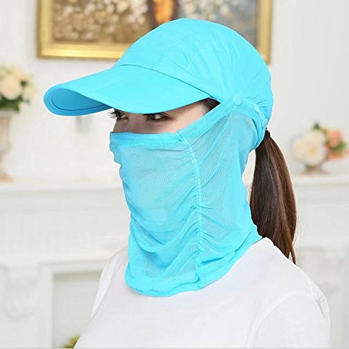 Vrcoco Outdoor Summer Popular Cycling Hat 360 Degree Protection UV 50+ Sunscreen Hat Foldable Climbing Hat Neck Face Flap Hat Wide Brim Sun Hat(1pc,Sky blue)