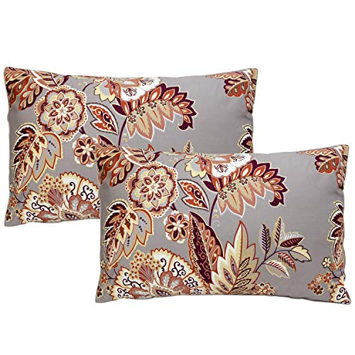 Softta Luxury Farmhouse Damask Floral and Leaf Bedding Design 2Pcs Pillowcases/Shams/Covers Twin/Full/Queen Standard Size (20×30 ()