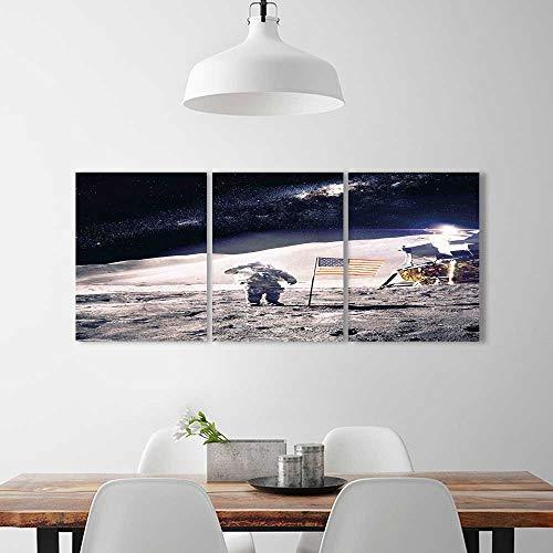 3 Piece Wall Art Painting Frameless Astronaut on Moon Americ