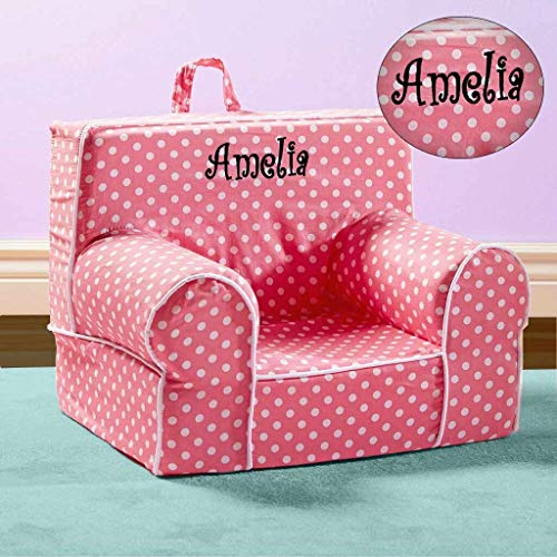 (Kids Anytime Chair, Personalized (Pink with Polka Dots))