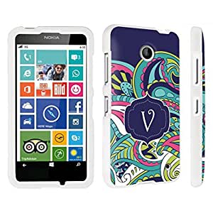 DuroCase ? Nokia Lumia 630 Hard Case White - (Mint Flower Monogram V)