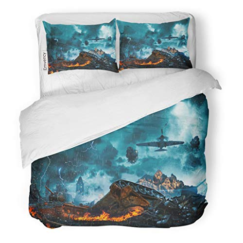 Semtomn Decor Duvet Cover Set Twin Size War Prostrate Tank Under Fire from Enemy Aircraft City 3 Piece Brushed Microfiber Fabric Print Bedding Set Cover