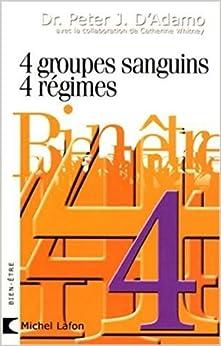 4 GROUPES SANGUINS 4 REGIMES