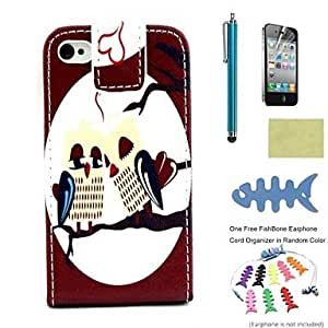 LCJ PU Leather Full Body Cases Includes Screen Protector and Fishbone and Stylus for iPhone 4/4S/iPhone 4